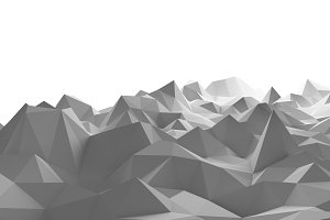 Mountains on white background in technology concept. Sci-Fi Data futuristic background. 3d illustration.