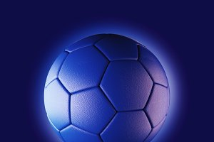 Blue soccer ball on blue background in technology concept. 3d illustration
