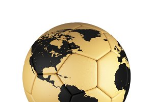 Soccer football with world map isolated on white background. Trophy world championship. 3d illustration.