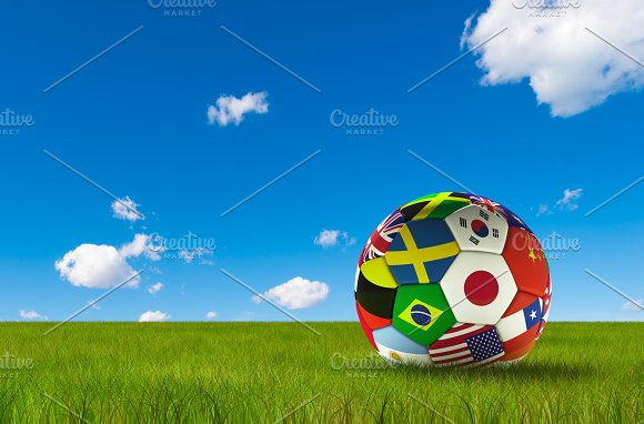 Soccer Football With Country Flags Isolated On Lush Grass And Blue Sky World Championship 3D Illustration