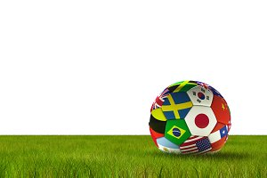 Soccer football with country flags isolated on white background with lush grass. World championship. 3d illustration.