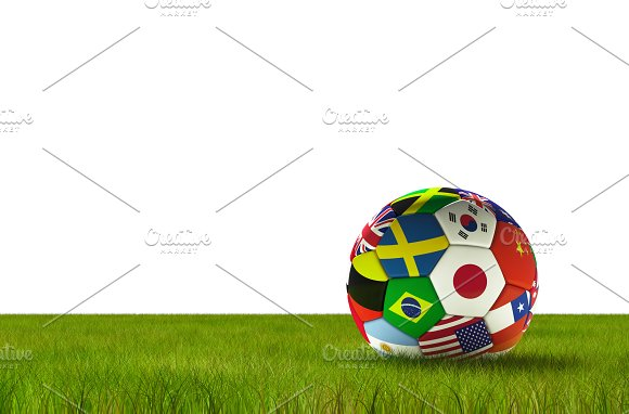 Soccer Football With Country Flags Isolated On White Background With Lush Grass World Championship 3D Illustration