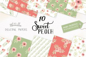 Peach Floral Watercolor Patterns Set