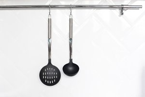 Cutlery hanging in the kitchen