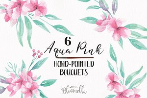 Watercolor Aqua Pink Flower Bouquets