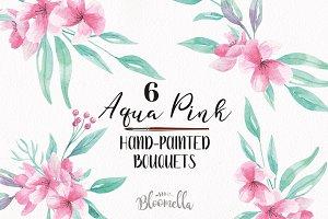 Watercolor Aqua Pink Flower Bouquets