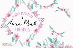 Aqua Pink Watercolor Frames Borders