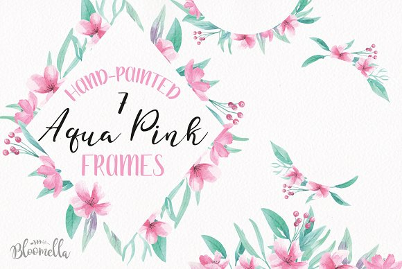 Aqua Pink Watercolor Frames Borders