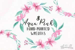 Aqua Pink Floral Wreaths Watercolor