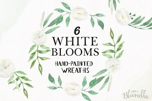 White Blooms Watercolor Wreaths Set