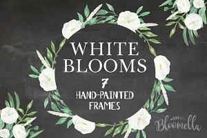 White Blooms Watercolor Frames Set