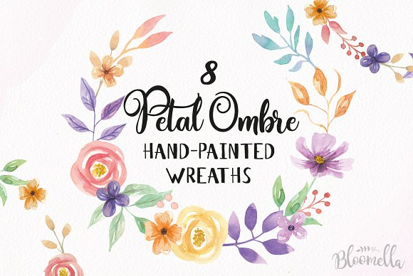 Petal Ombre Watercolor Flower Wreath