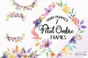 Petal Ombre Watercolor Frames Floral