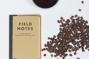 Coffee Beans & Field Notes Flatlay