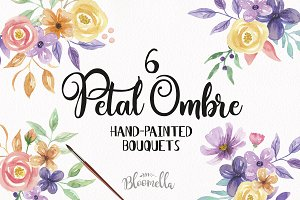 Petal Ombre Bouquets Watercolor Set