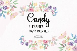 Candy Frames Watercolor Flowers