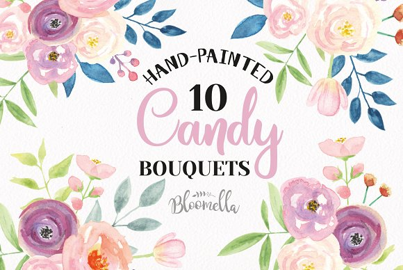 Candy Watercolor Bouquets Florals