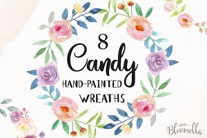 Candy Floral Watercolor Wreaths Set