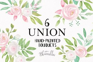 Union Watercolor Bouquets White Pink