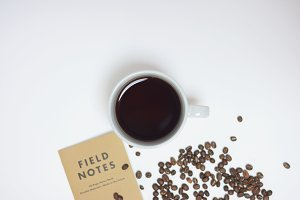 Coffee Beans & Notebook
