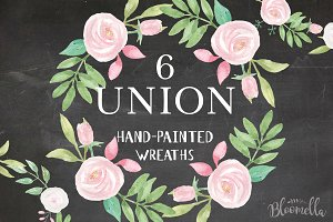 Union Watercolor Floral Wreath Set