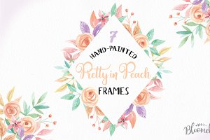 Pretty in Peach Watercolor Frames