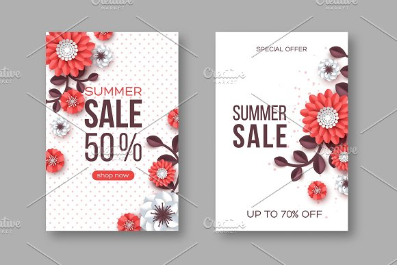 Summer Sale Banners With Paper Cut Flower And Dotted Pattern Template For Seasonal Discounts White Background Vector Illustration