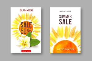 Summer sale banners with handdrawn watercolor sun and tropical flower plumeria. Template for seasonal discounts. White background, vector illustration.