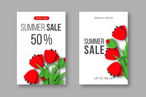 Summer sale banners with paper cut red poppy flowers and dotted pattern. White background - template for seasonal discounts, vector illustration.