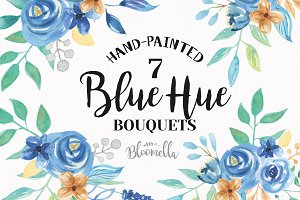 Blue Hue Watercolor Floral Wreaths