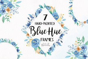 Blue Hue Watercolor Flower Frames