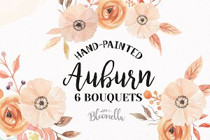 Auburn Watercolor Fall Bouquets