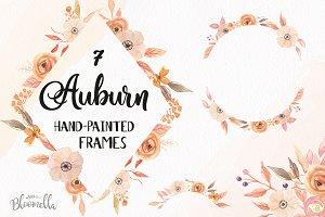 Auburn Watercolor Fall Frames Set