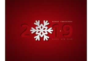 Christmas background with 2019 and snowflake. Paper cut style with red background and knitted pattern inside numbers, vector illustration.