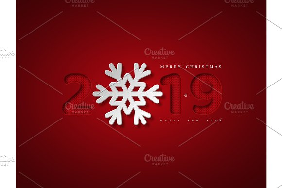 Christmas Background With 2019 And Snowflake Paper Cut Style With Red Background And Knitted Pattern Inside Numbers Vector Illustration