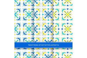 Set of seamless ornamental patterns. Traditional turkish, morrocan, arabesque, mexican ornaments, hand drawn vector illustration.