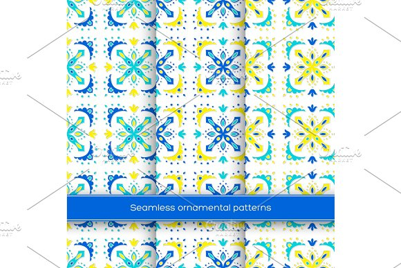 Set Of Seamless Ornamental Patterns Traditional Turkish Morrocan Arabesque Mexican Ornaments Hand Drawn Vector Illustration