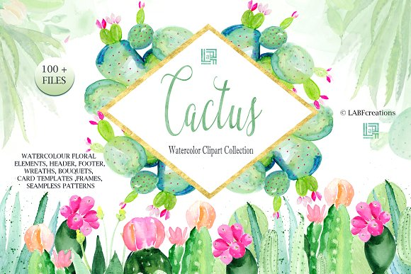 Cactus Watercolr Clipart Collection
