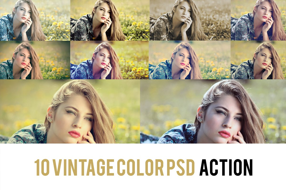 10 Vintage Color Grading Action ~ Photoshop Add-Ons