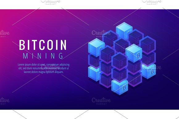 Isometric Bitcoin Mining Farm Landing Page Concept