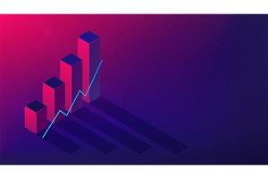 Isometric cryptocurrency exchange trading concept.