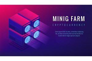 Isometric mining farm landing page concept.