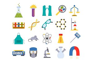 Lab vector chemical test medical laboratory scientific biology science chemistry icons illustration.