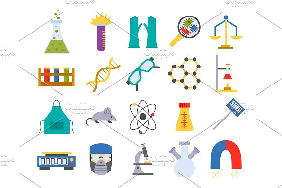 Lab Vector Chemical Test Medical Laboratory Scientific Biology Science Chemistry Icons Illustration