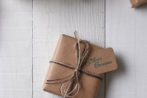 Brown Paper Wrapped Christmas Gift