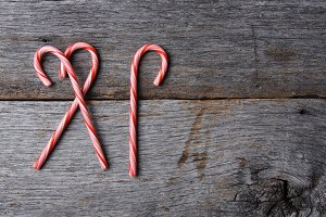 Three holiday candy canes