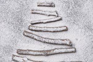 Christmas tree shape made of twigs