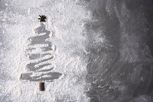 Flour on in a Christmas tree shape