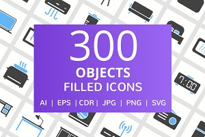 300 Objects Filled Icons