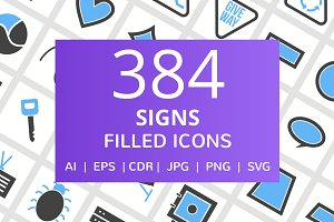 384 Signs Filled Blue & Black Icons